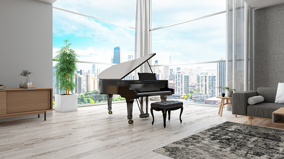 Modern Interior with Grand Piano. 3d Render