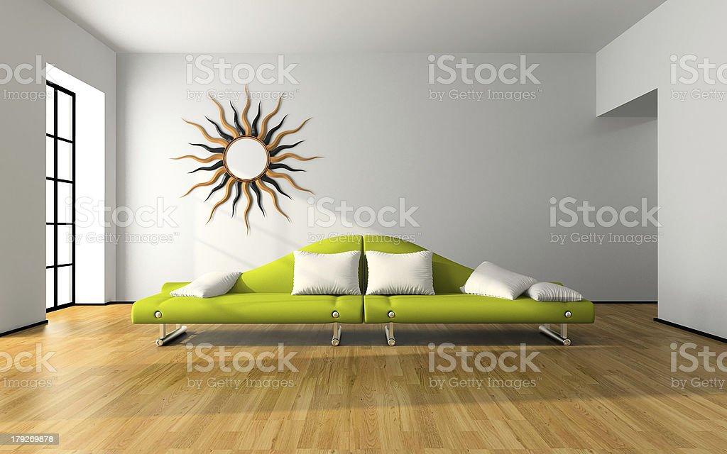 Modern interior with green sofa royalty-free stock photo