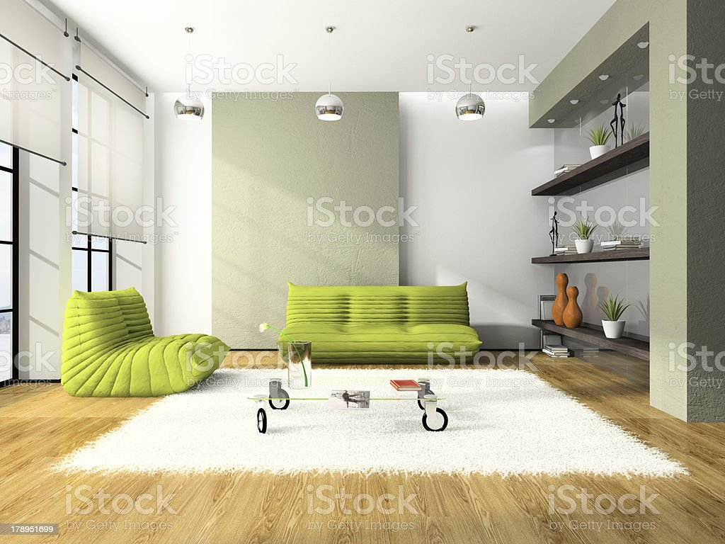 Modern interior with green sofas and white carpet 3D stock photo