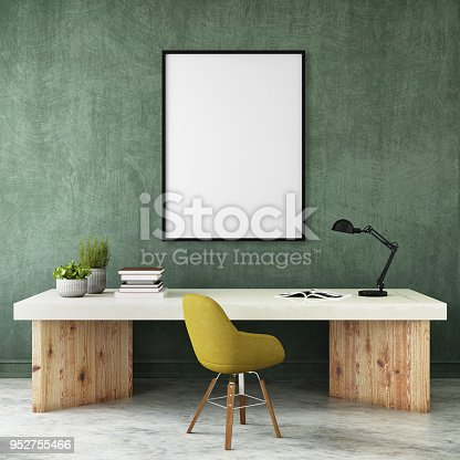 Modern interior with office desk and pastel colored chair with picture frame template. Table lamp, plant and concrete polished floor. Mock up for copy space.