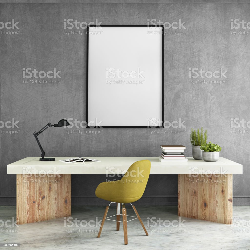 Modern interior with office desk and picture frame template stock photo