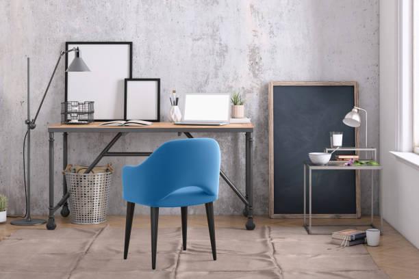 modernes interieur mit office schreibtisch-hintergrund-vorlage - arbeitszimmer möbel stock-fotos und bilder