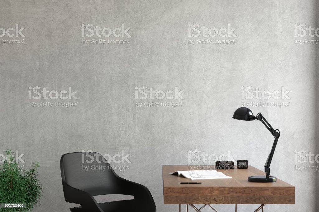 Modern interior with office desk background template stock photo