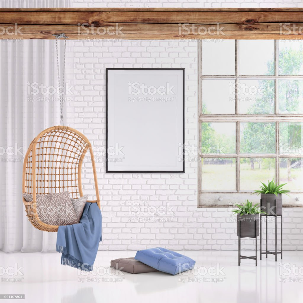 modern interior with pendant chair and picture frame template stock