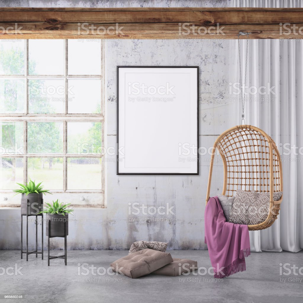 Modern interior with pendant chair and picture frame template - Royalty-free Art Stock Photo