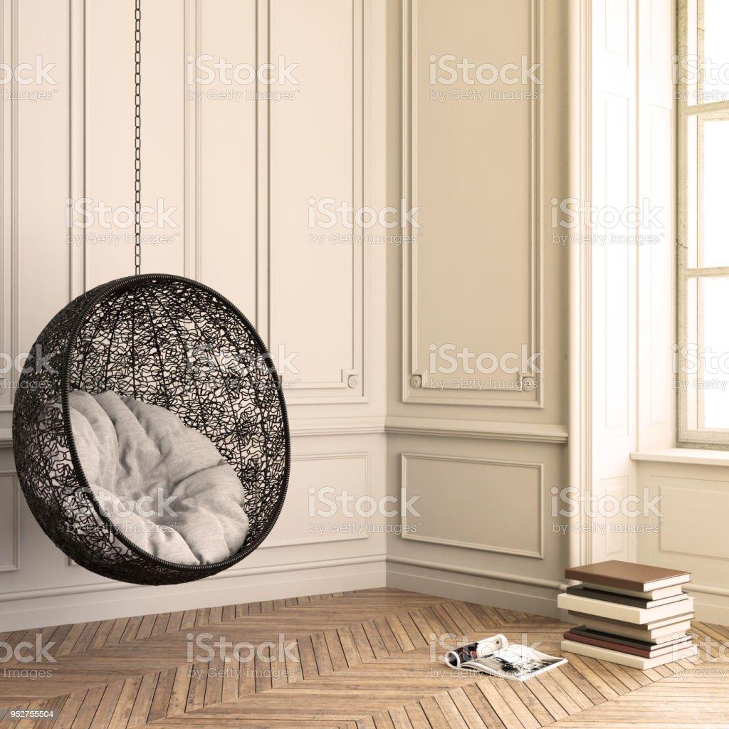 Modernes Interieur Mit Anhänger Stuhl Hintergrundvorlage Stock ...