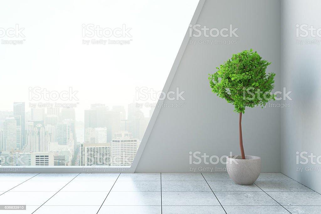 Modern interior with plant - Lizenzfrei Baugewerbe Stock-Foto