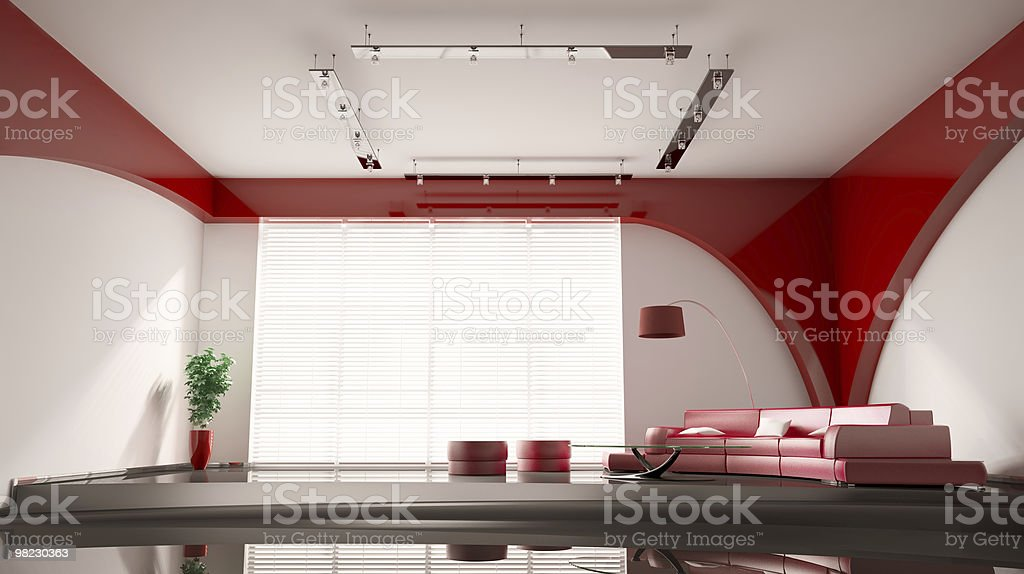 Modern interior with red sofa 3d royalty-free stock photo