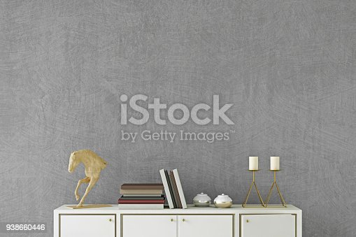 istock Modern interior with sideboard background template 938660446