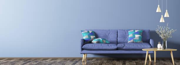 modern inredning med soffa panorama 3d-rendering - flower bouquet blue and white bildbanksfoton och bilder