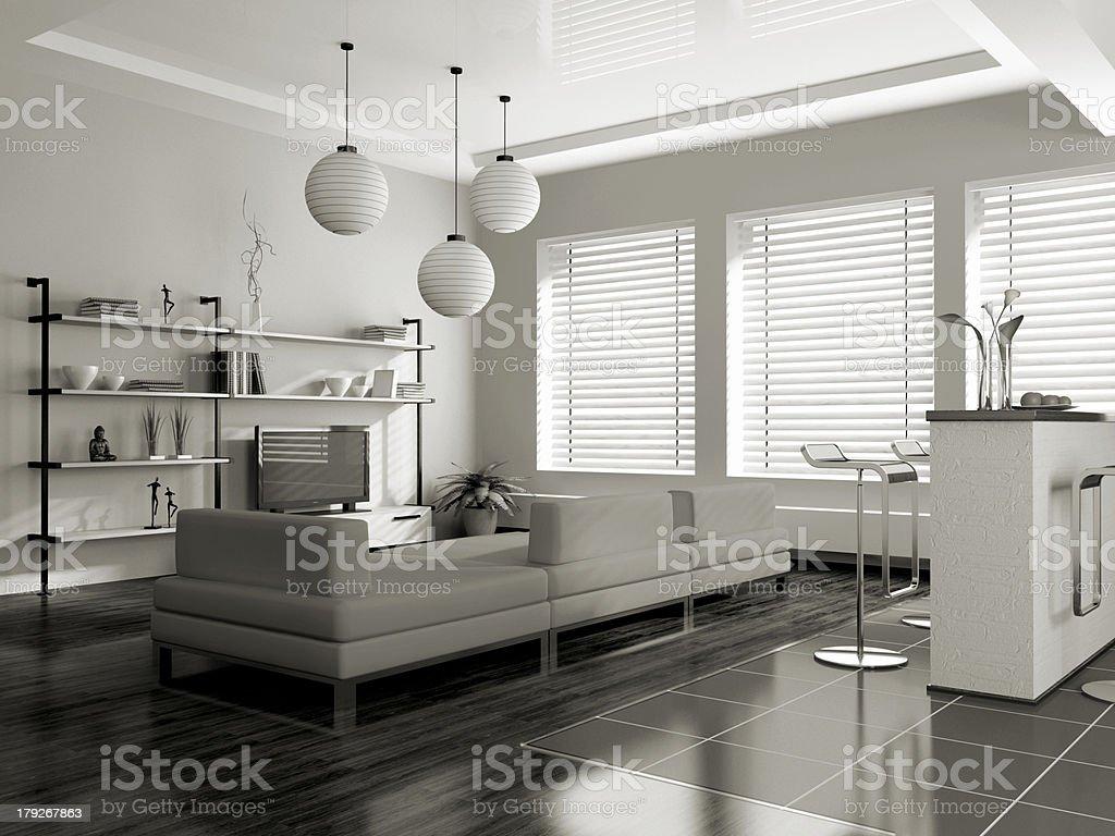 Modern interior (sepia) with sofa stock photo
