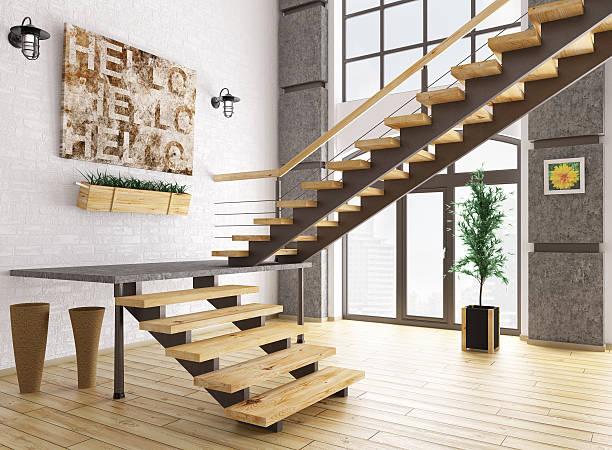 modernes interieur mit treppe 3d-abbildung - bild wandtreppe stock-fotos und bilder