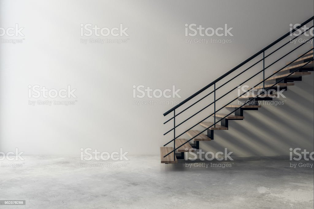 Modern interior with stairs and copyspace stock photo