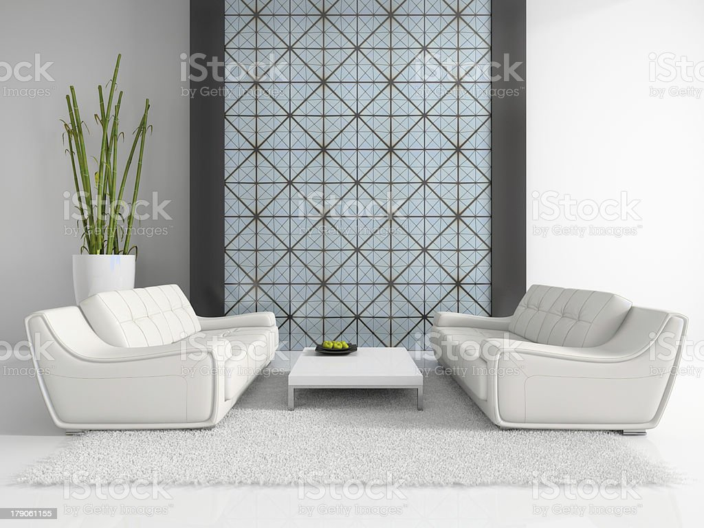 Modern interior with two white sofas royalty-free stock photo
