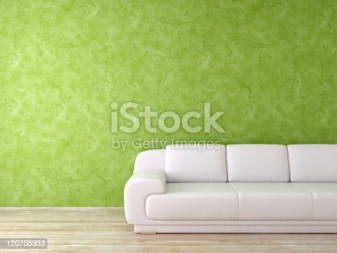 629801250istockphoto Modern Interior with White Sofa in Green Room 120705933