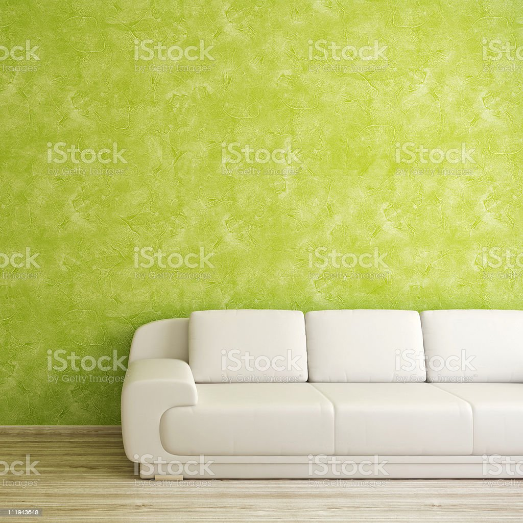 Modernes Interieur mit weißen sofa in der Nähe von grünen Stuck Wand – Foto