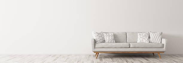 現代的な白いソファとインテリアパノラマ 3 d レンダー - ソファ 無人 ストックフォトと画像