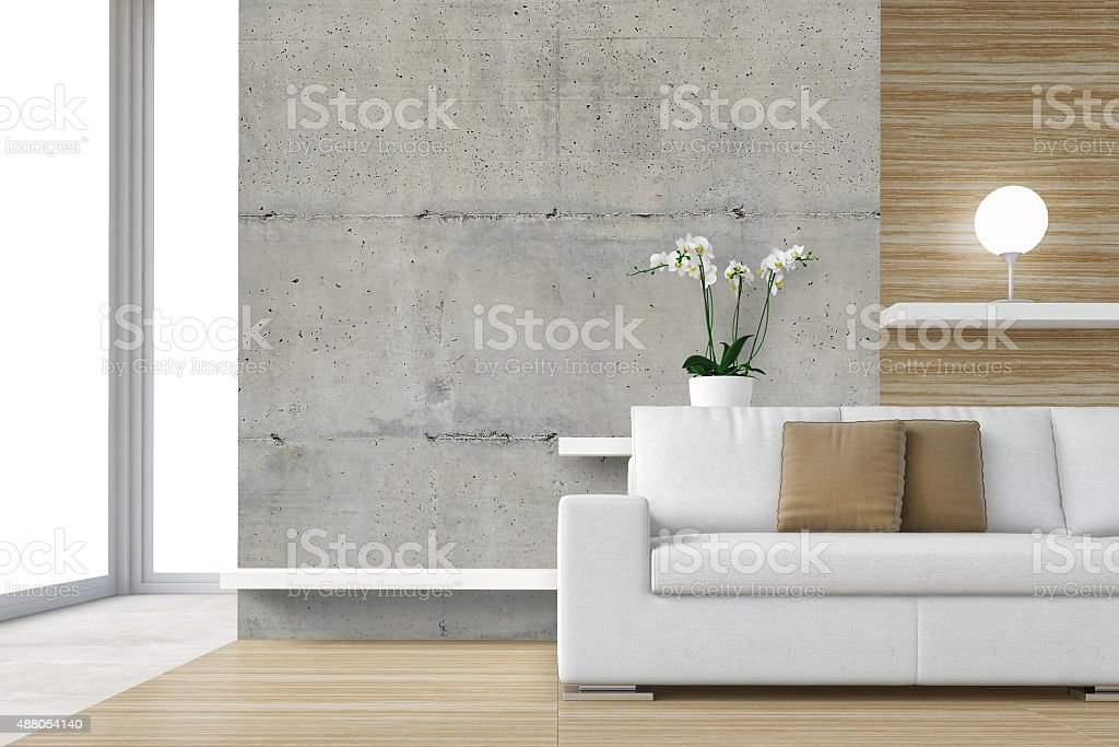 Modern interior with white sofa stock photo