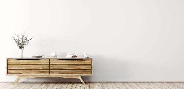 modernes interieur mit holz kommode 3d-rendering - sideboard skandinavisch stock-fotos und bilder