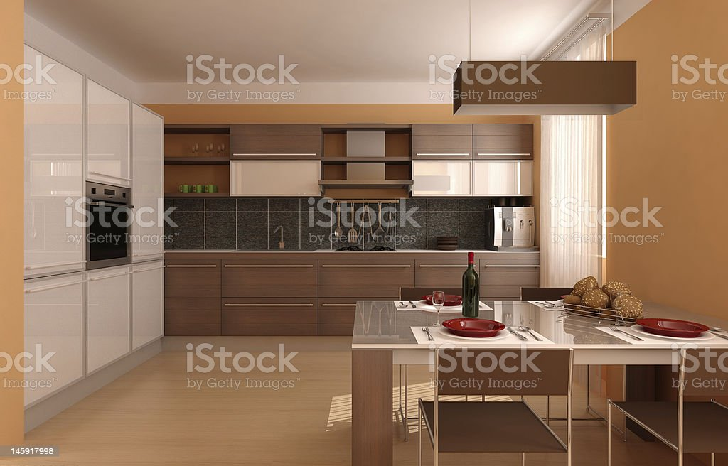 modern interior.kitchen and dinner table royalty-free stock photo