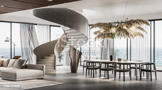 Modern interiors of a large living room of a holiday villa. Living room with sofa set, dining area and spiral staircase in 3D rendering.
