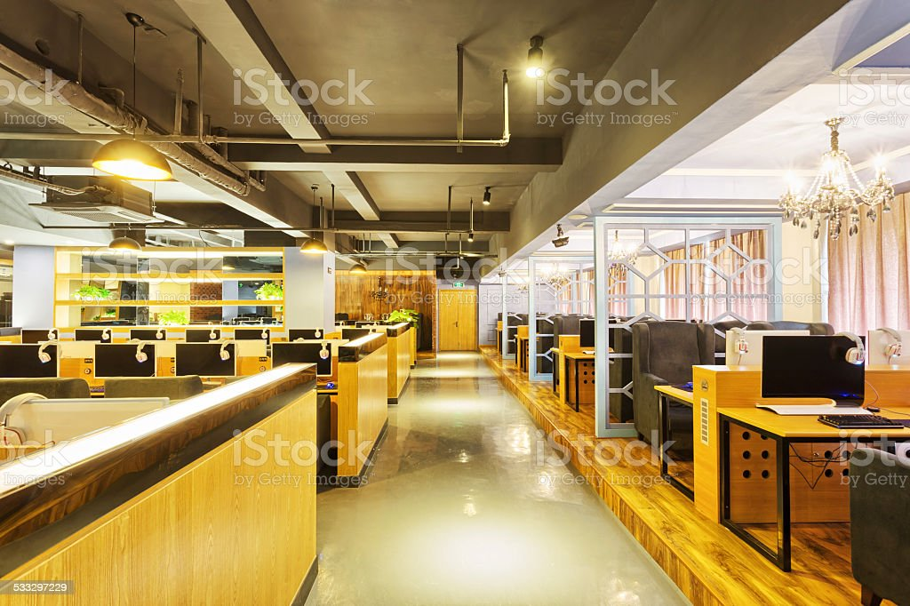 Modern Internet Cafe Interior Stock Photo More Pictures of 2015