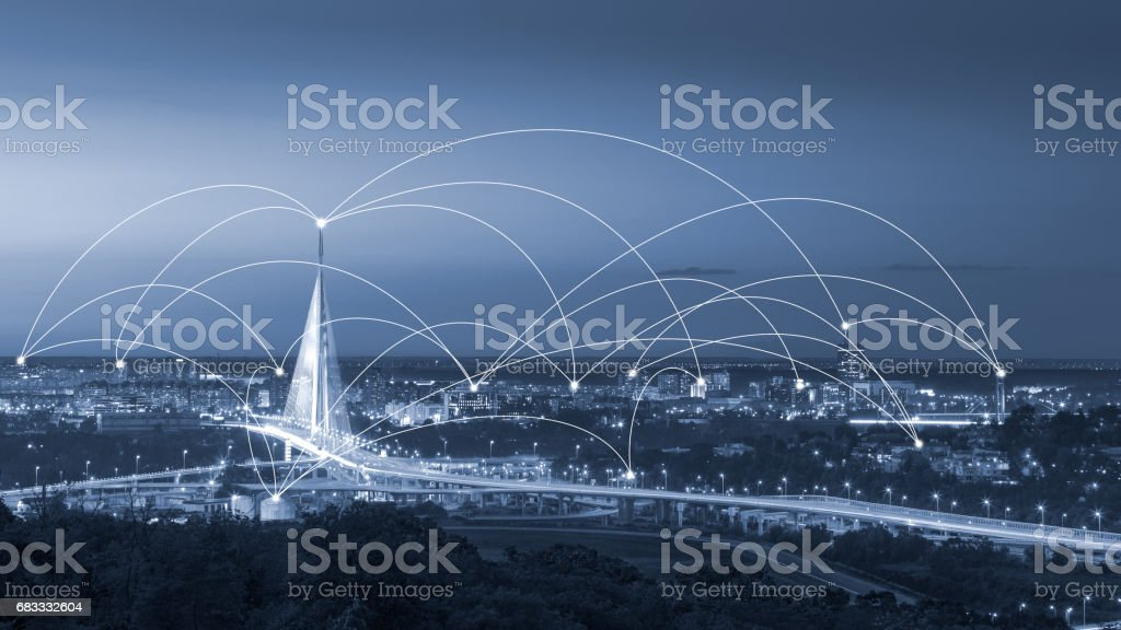 Modern internet web network all over the city royalty-free stock photo