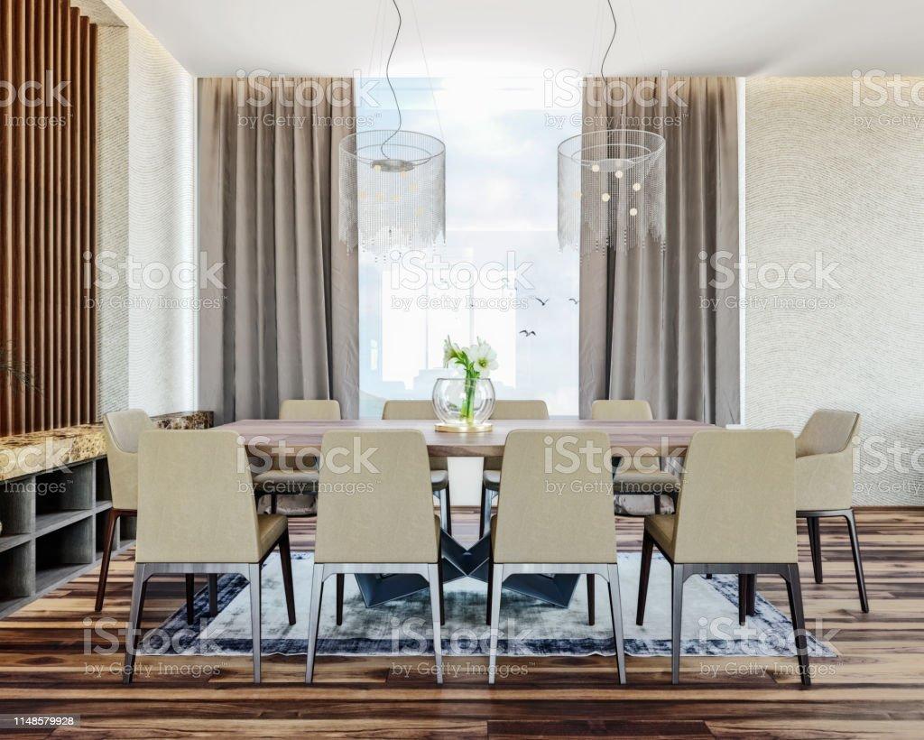 Moderno Diseño Interior Italiano De Comedor Contemporáneo ...
