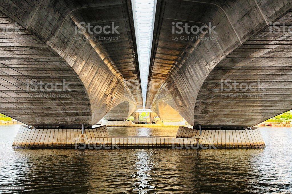 Modern Japanese bridge concrete structure stock photo