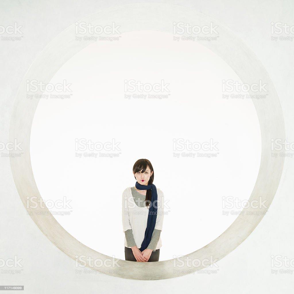 Modern Japanese Geisha Illuminated Circle Portrait stock photo