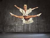Modern Jazz dancer practicing  jump