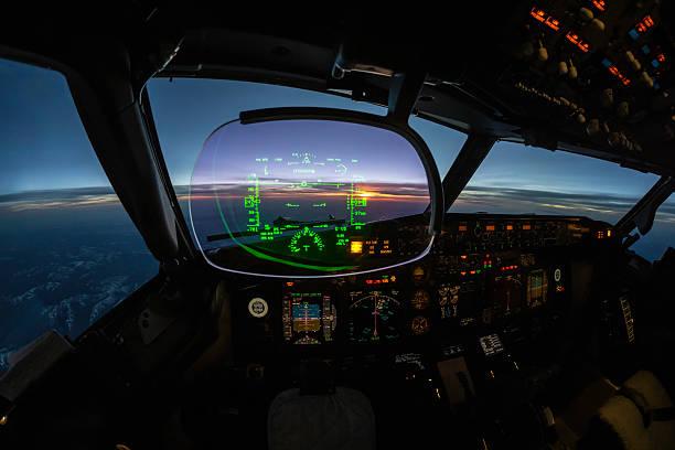 modern jet cockpit flight instruments stock photo