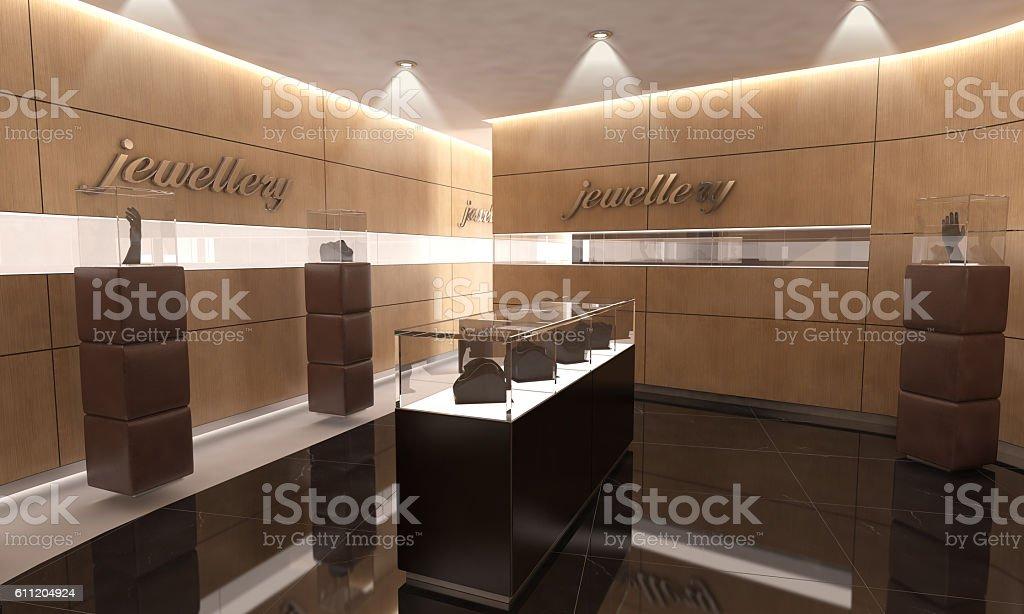 Modern Jewelry Store Interior Design stock photo