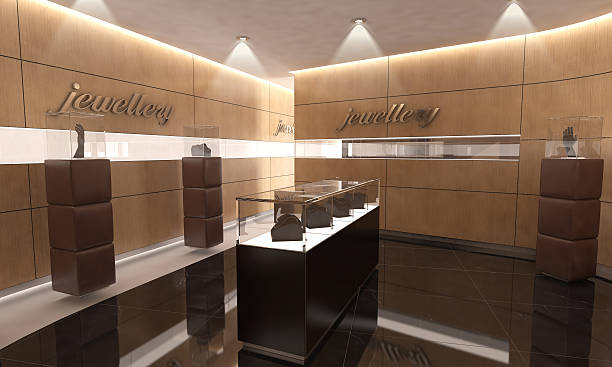 Modern Jewelry Store Interior Design Modern Jewelry Store Interior Design jeweller stock pictures, royalty-free photos & images