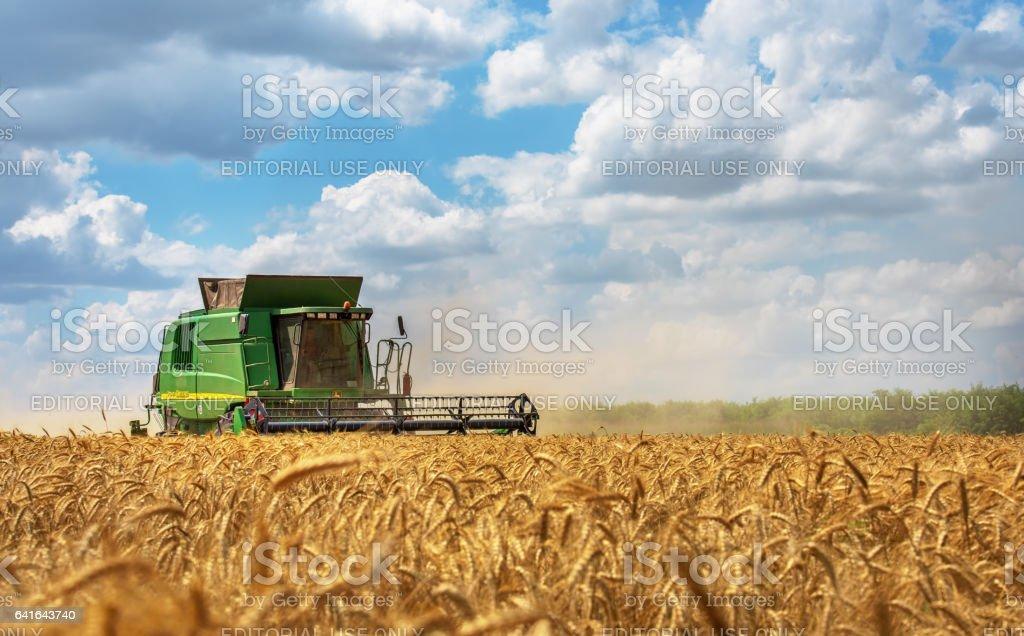 Dobrich Bulgaria July 08 Modern John Deere Combine Harvesting Grain