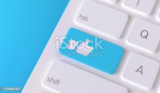 istock Modern Keyboard Button with Thumbs Up Icon - Social Media Concept 1223061327