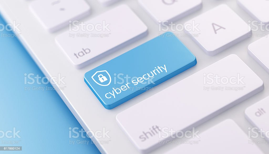 Modern Keyboard wih Blue Cyber Security Button stock photo