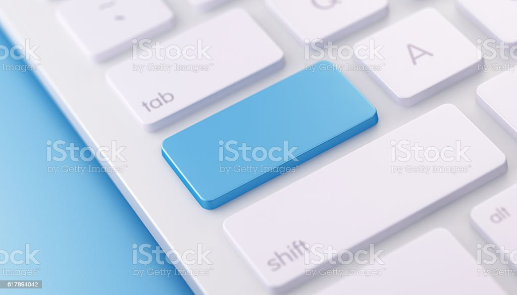 Modern Keyboard wih Blue Enter Button - foto de acervo