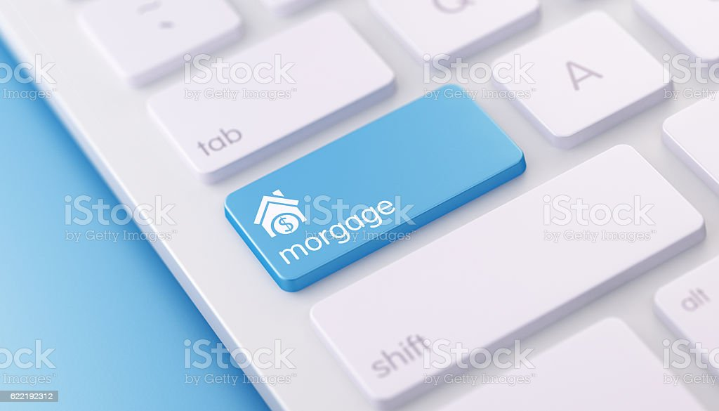 Modern Keyboard wih Blue Morgage Button stock photo