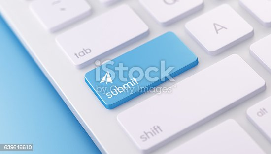 High quality 3d render of a modern keyboard with blue submit button on a blue background and copy space. The blue submit keyboard button has a text and an icon on it. The submit keyboard button is  in focus, Horizontal composition with copy space.
