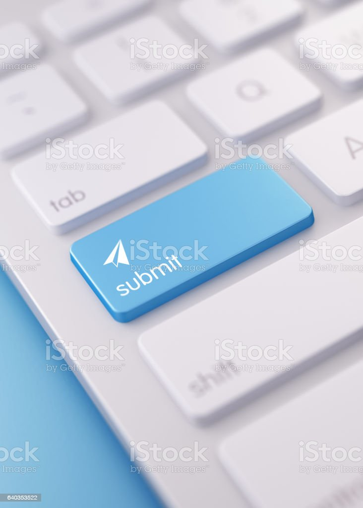 Modern Keyboard wih Blue Submit Button stock photo