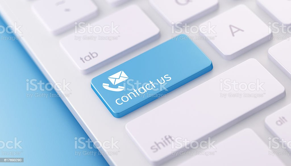 Modern Keyboard wih Contact Us Button stock photo
