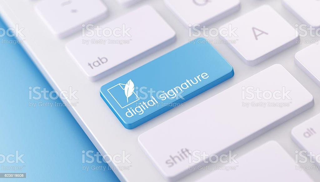 Modern Keyboard wih Digital Signature Button stock photo