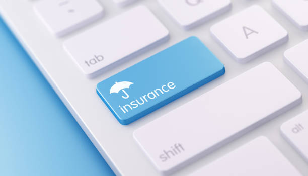 modern keyboard wih insurance button - insurance stock photos and pictures