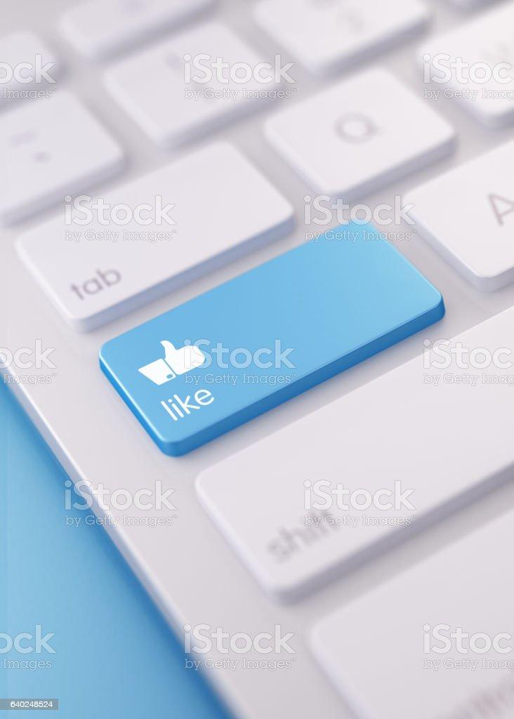 Modern Keyboard wih Thumbs Up Like Button - foto de stock