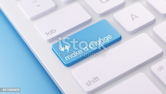 High quality 3d render of a modern keyboard with blue make a change button on a blue background and copy space. Make a change keyboard button has a text and an icon on it and it is in focus.  Horizontal  composition with copy space.