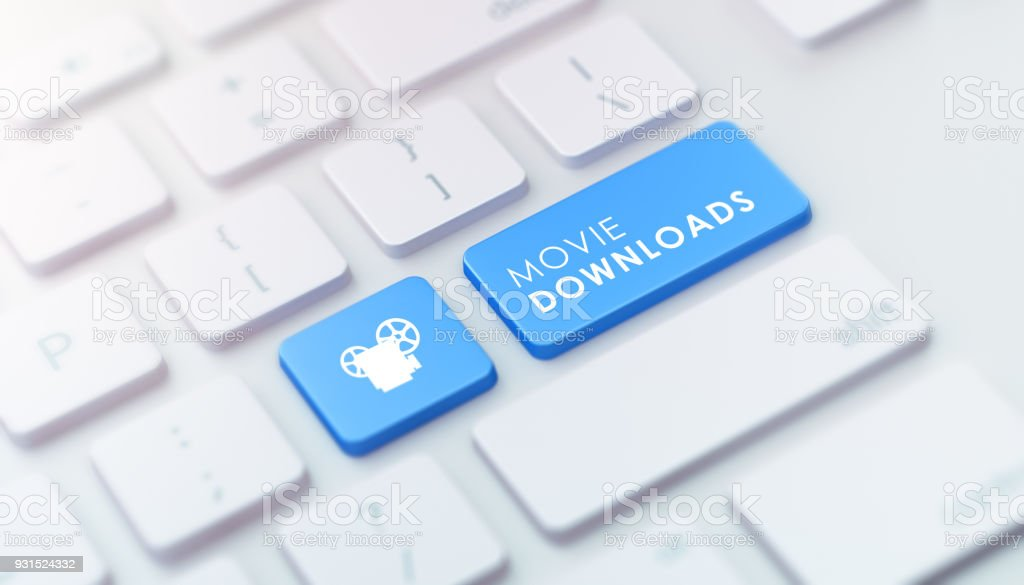 Modern Keyboard with Blue Movie Downloads Button stock photo
