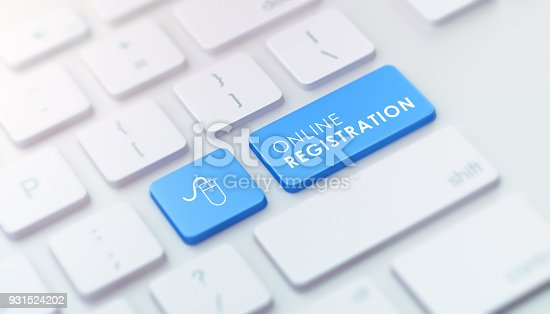 istock Modern Keyboard with Blue Online Registration Button 931524202