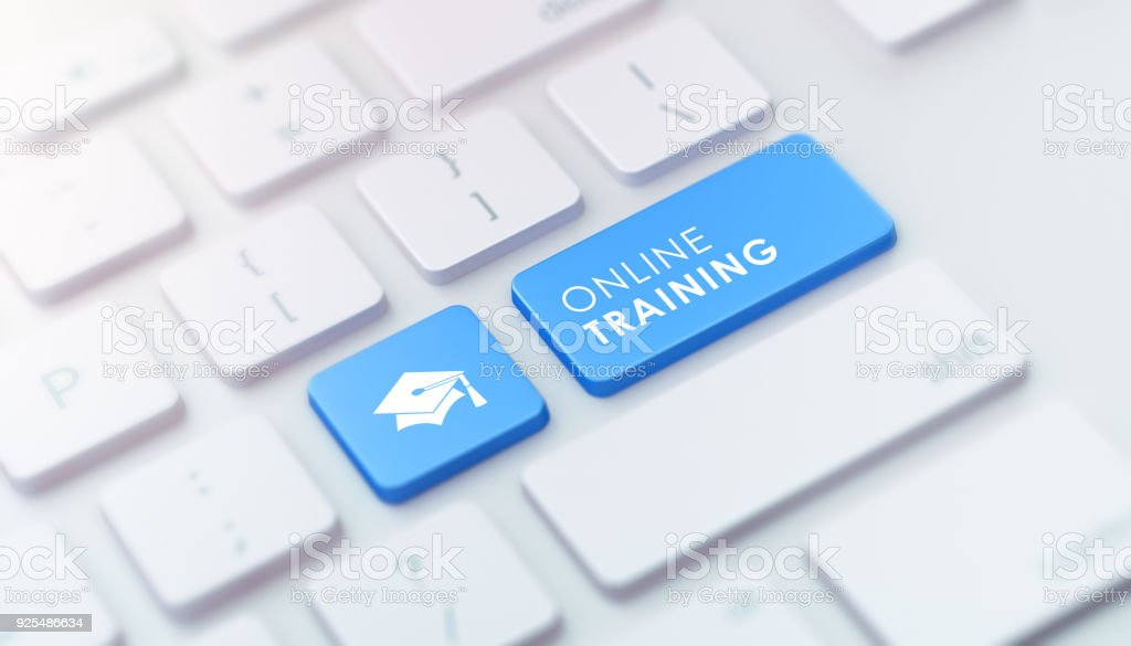 Modern Keyboard with Blue Online Training Button stock photo