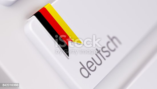 High quality 3d render of a modern keyboard with German text and German flag. Derman keyboard button has a German flag icon on it and it is in focus. Horizontal composition with copy space.